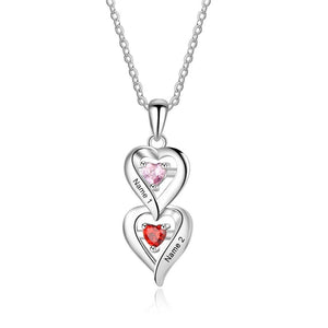 Necklaces - Personalized Hearts 925 Sterling Silver Womens Necklace - 2 Birthstones + 2 Engravings