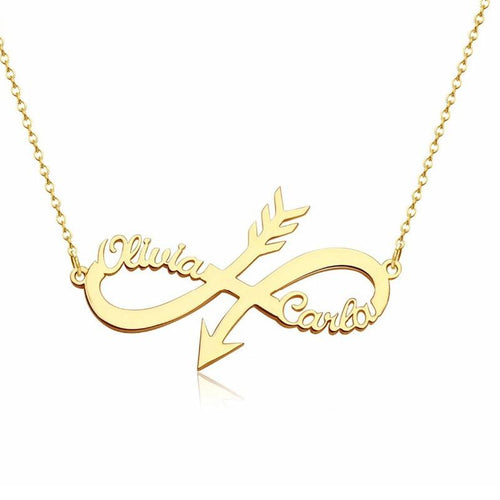 Necklaces - Personalized Infinity Arrow Two Custom Name Necklace