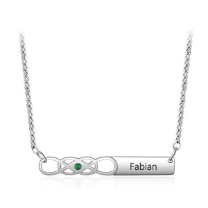 Necklaces - Personalized Infinity Birthstone & Name Bar Necklace