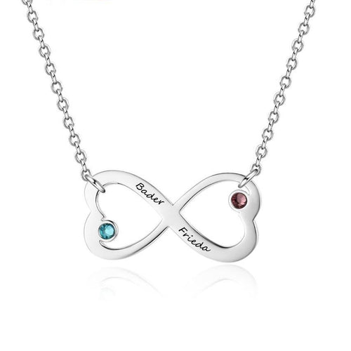 Necklaces - Personalized Infinity Hearts Womens Necklace - 2 Birthstones + 2 Engravings