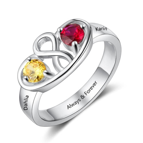 Promise Rings - Personalized Infinity 925 Sterling Silver Ring - 2 Birthstones & 1 Engraving