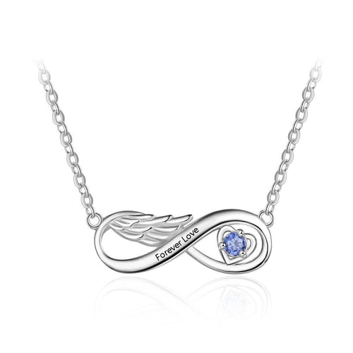 Necklaces - Personalized Infinity Wing Necklace - 1 Engraving & 1 Birthstone