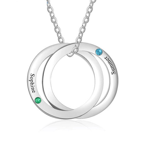 Necklaces - Personalized Intertwined Circle Necklace - 2 Birthstones + 2 Engravings