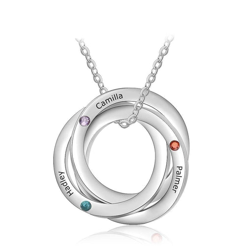 Necklaces - Personalized Intertwined Circle Necklace - 3 Birthstones + 3 Engravings