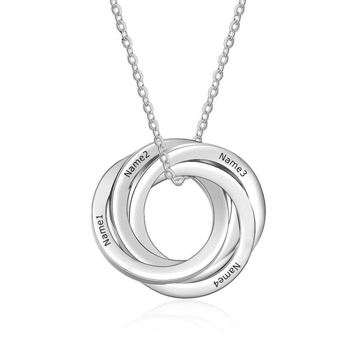Necklaces - Personalized Intertwined Circle Necklace - 4 Engravings