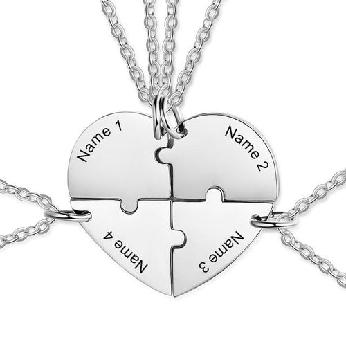 Necklaces - Personalized Joining Heart BFF Friendship Necklaces (4 Necklaces) - 4 Engravings