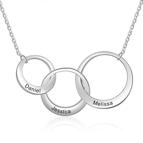 Necklaces - Personalized Linked Circles Silver Necklace - 3 Engravings