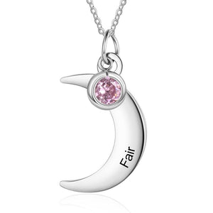 Necklaces - Personalized Moon Stainless Steel Necklace - 1 Engraving & 1 Birthstone