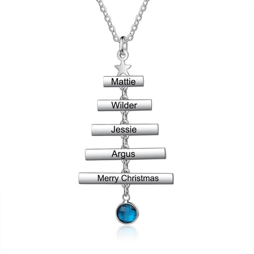 Necklaces - Personalized Name Bar Christmas Tree Necklace - 1 Birthstone & 1-5 Engravings