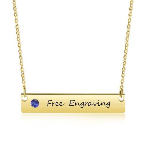Necklaces - Personalized Name Bar Necklace - 1 Engraving & 1 Birthstone (2 colors)