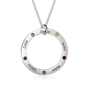 Necklaces - Personalized Names Circle Necklace - 5 Birthstones + 5 Engravings