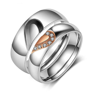 Promise Rings - Personalized One Heart Matching Couple Rings