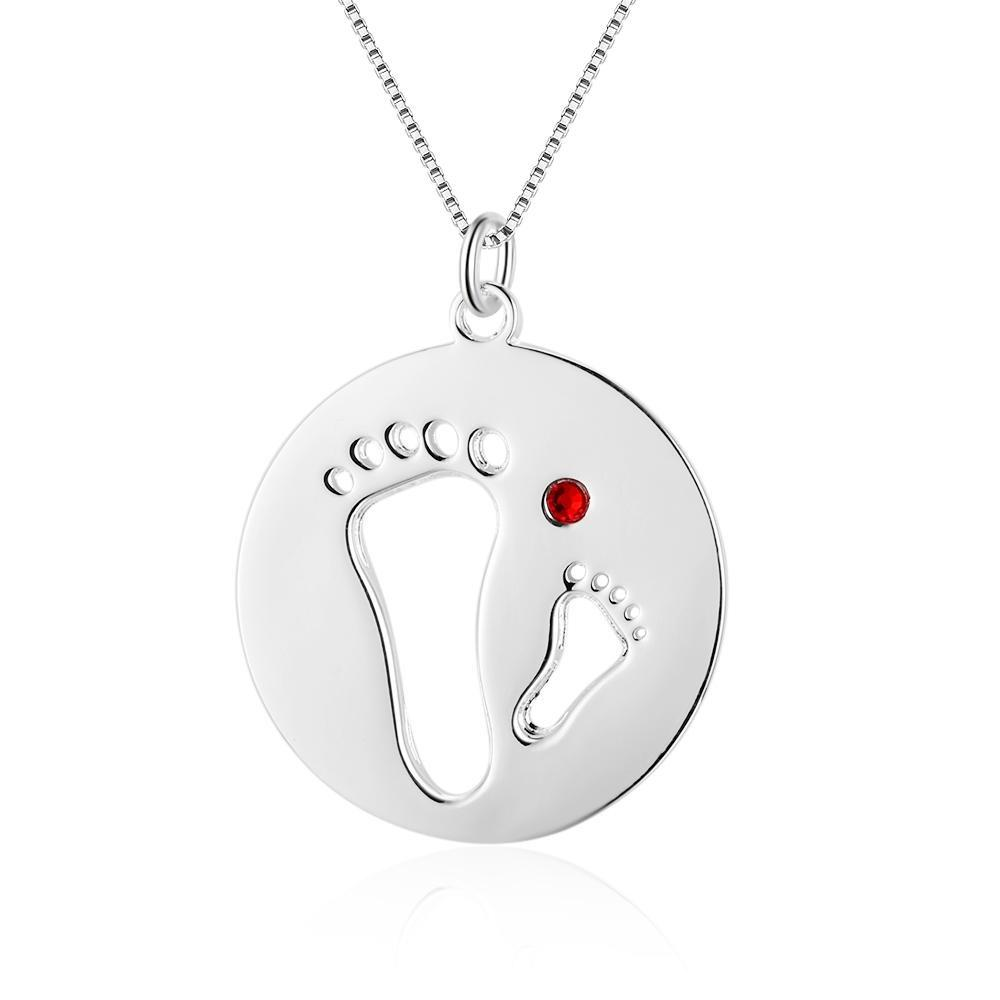 Necklaces - Personalized Parent & Child Footprints 925 Sterling Silver Necklace - 1 Custom Birthstone