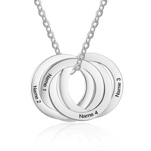 Necklaces - Personalized Quadruple Circles Silver Necklace - 4 Engravings