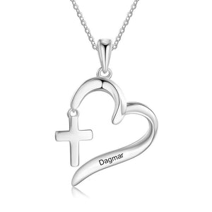 Necklaces - Personalized Religious Christian Cross & Heart Necklace - 1 Engraving