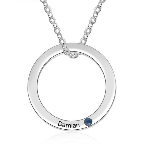 Necklaces - Personalized Silver Circle Necklace - 1 Birthstone + 1 Engraving