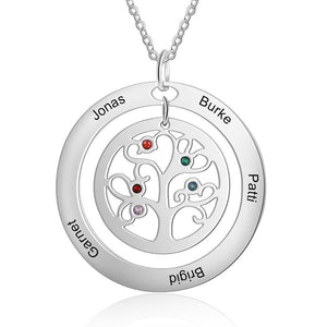 Necklaces - Personalized Tree of Life Family Necklace - 2-9 Birthstones & Engravings