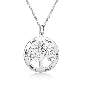 Necklaces - Personalized Tree Of Life Necklace - 1 to 6 Engraved Names