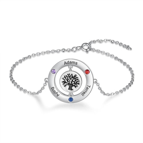 Bracelets - Personalized Tree of Life Womens Bracelet - 4 Engravings + 3 Birthstones
