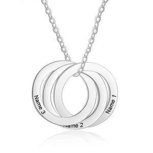 Necklaces - Personalized Triple Circles Silver Necklace - 3 Engravings