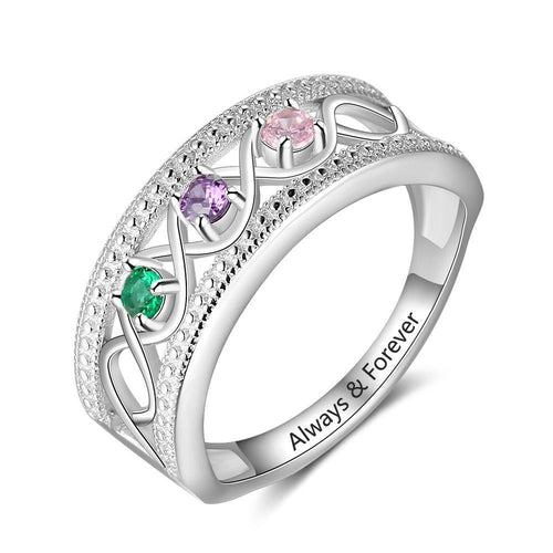 Promise Rings - Princess 925 Sterling Silver Womens Ring - 3 Birthstones & 1 Engravings