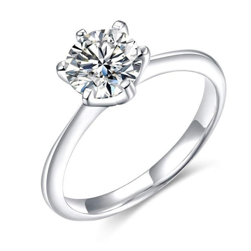 Promise Rings - Princess Cubic Zirconia 925 Sterling Silver Womens Ring