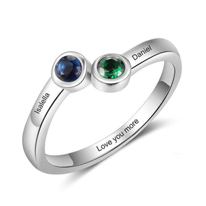 Promise Rings - Personalized Double Stone 925 Sterling Silver Womens Ring - 3 Engravings + 2 Birthstones