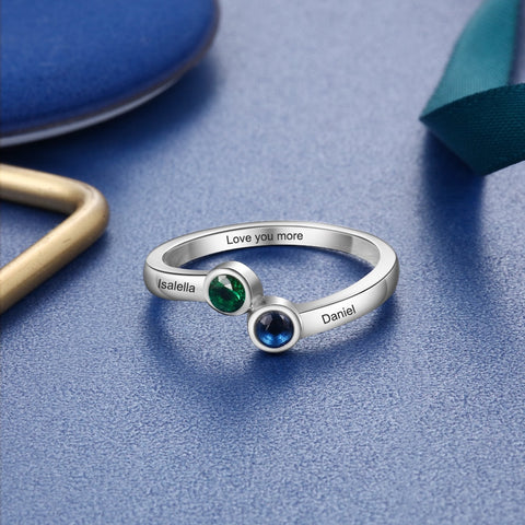 Promise Ring For Her - Personalized Two Birthstones 925 Sterling Silver Womens Ring