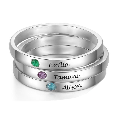 Promise Rings - Personalized Stackable 925 Sterling Silver Womens Rings (3 Piece/Set) - 1 Engraving & Birthstone (per ring)