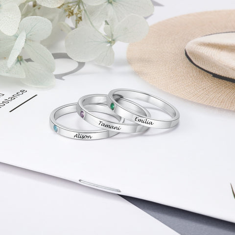 Personalized Stackable 925 Sterling Silver Womens Rings