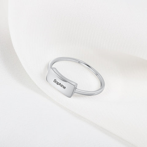 Personalized Simple Minimalist Bar 925 Sterling Silver Womens Ring