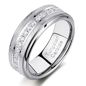 8mm Cubic Zirconias Silver Tungsten Mens Ring