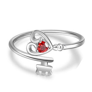 Promise Rings - Personalized Heart Key 925 Sterling Silver Womens Ring - 1 Birthstone