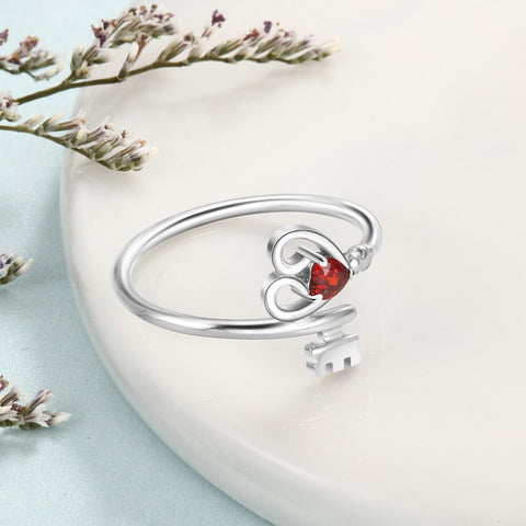 Personalized Heart Key 925 Sterling Silver Womens Ring