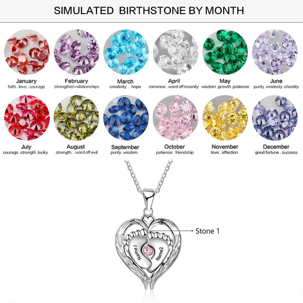 Childrens name and birthstones Mothers necklace