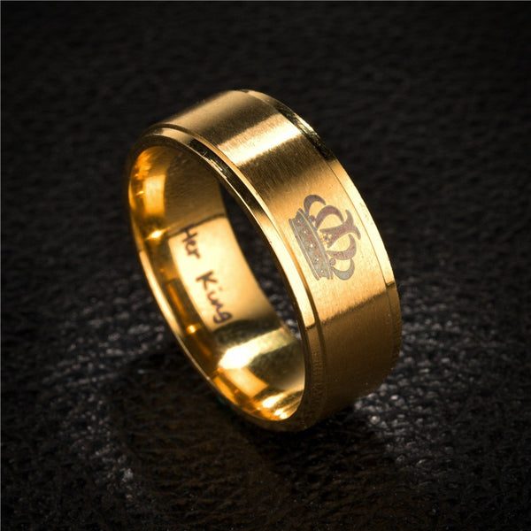 Her King & His Queen Matte Gold Couples Rings