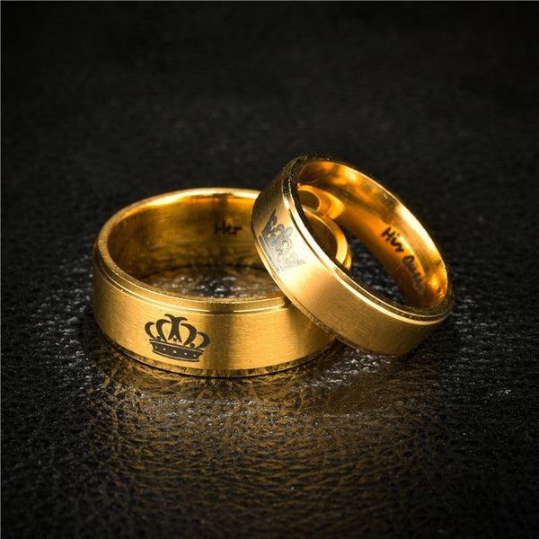 Her King & His Queen Gold Couples Rings