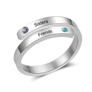 Promise Rings - Personalized Double Wrap Womens Ring - 2 Engravings + 2 Birthstones