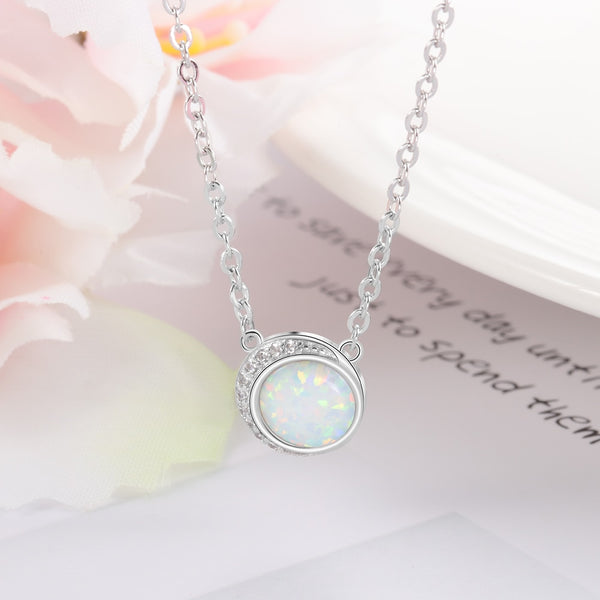 Opal 925 Sterling Silver Womens Necklace