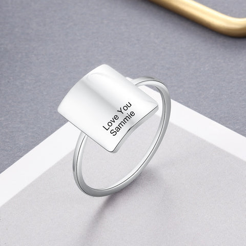 Personalized Square Minimalist Stainless Steel Women's Ring
