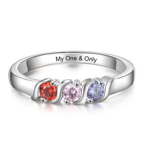 Promise Rings - Personalized 3 Round Stones Womens Ring - 1 Engravings + 3 Birthstones