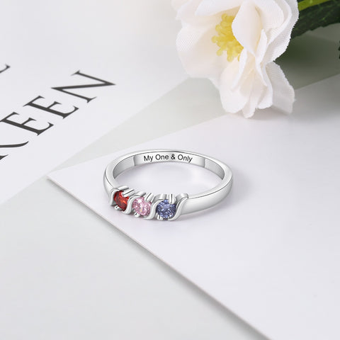 Promise ring for her - 3 custom birthstones & personalized engraving ring gift