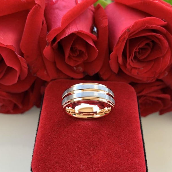 Rose Gold & Silver Tungsten Men's Ring