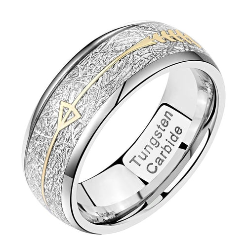 8mm Cupid's Arrow Silver Tungsten Mens Ring