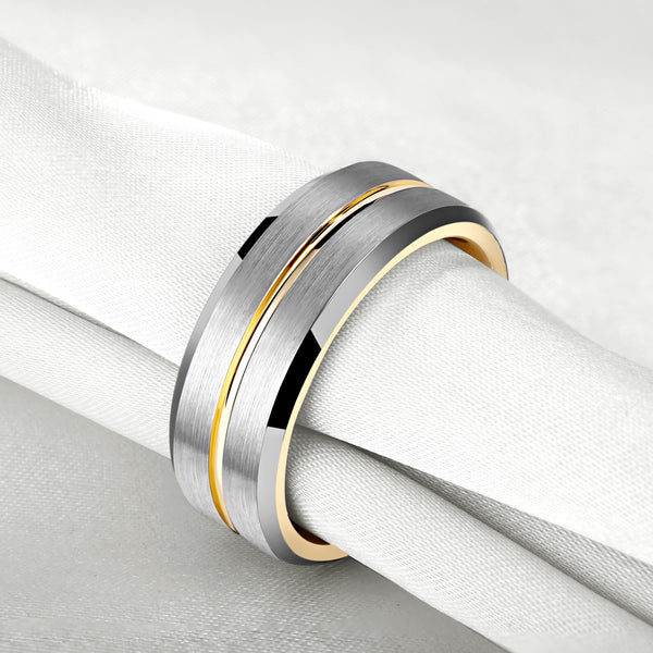 8mm Silver and Gold Tungsten Mens Ring