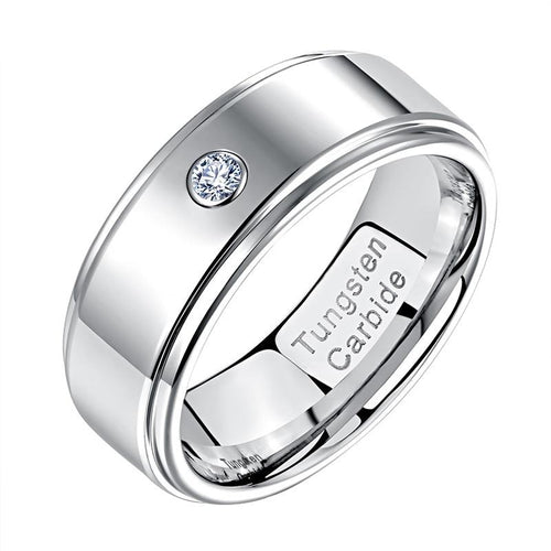 8mm Round Cubic Zirconia Silver Tungsten Mens Ring