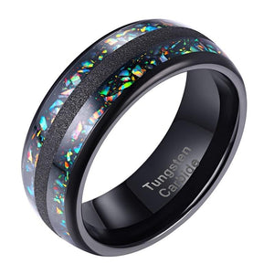 Black mens ring with unique multi color inlay