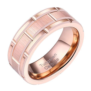 Unique Rose Gold Tungsten Mens Ring