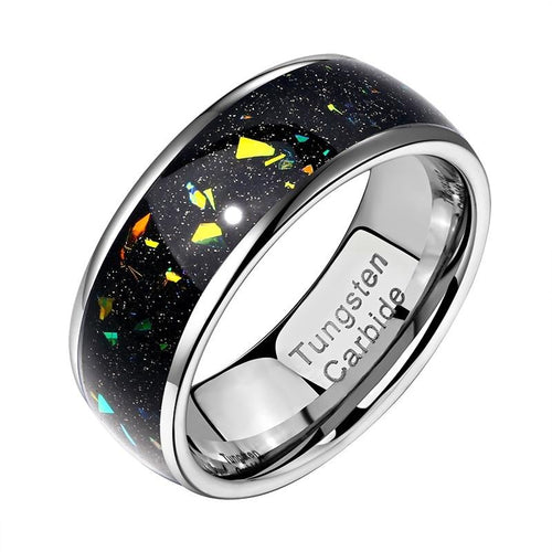 Unique Black Mens Ring With Colorful Fragments