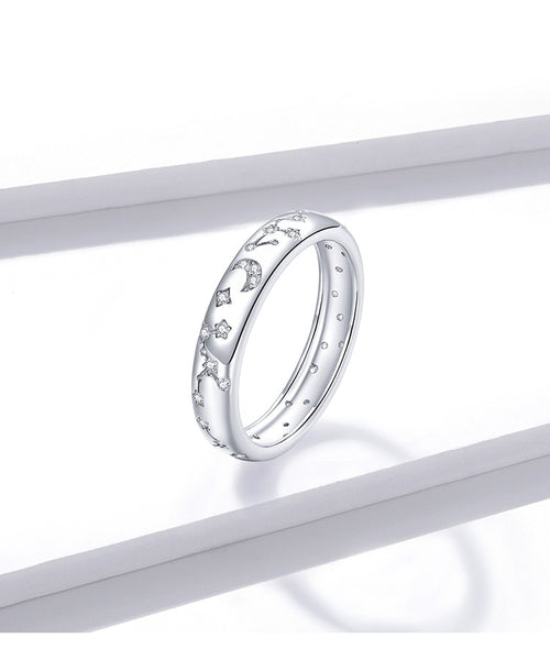 Moon and Stars Constellation Womens Ring